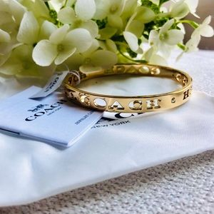 NWT Coach | Gold Pierced Bangle w/ Logo